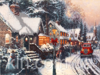 Набор для вышивания бисером FLF-084 Зима в городе 20*30 Волшебная страна качественный