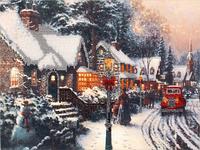 Набор для вышивания бисером FLF-084 Зима в городе 20*30 Волшебная страна качественный , фото 1