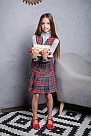 Стильный сарафан школьный с юбкой плиссе, принт клетка (Размерный ряд: 116-152 см)
