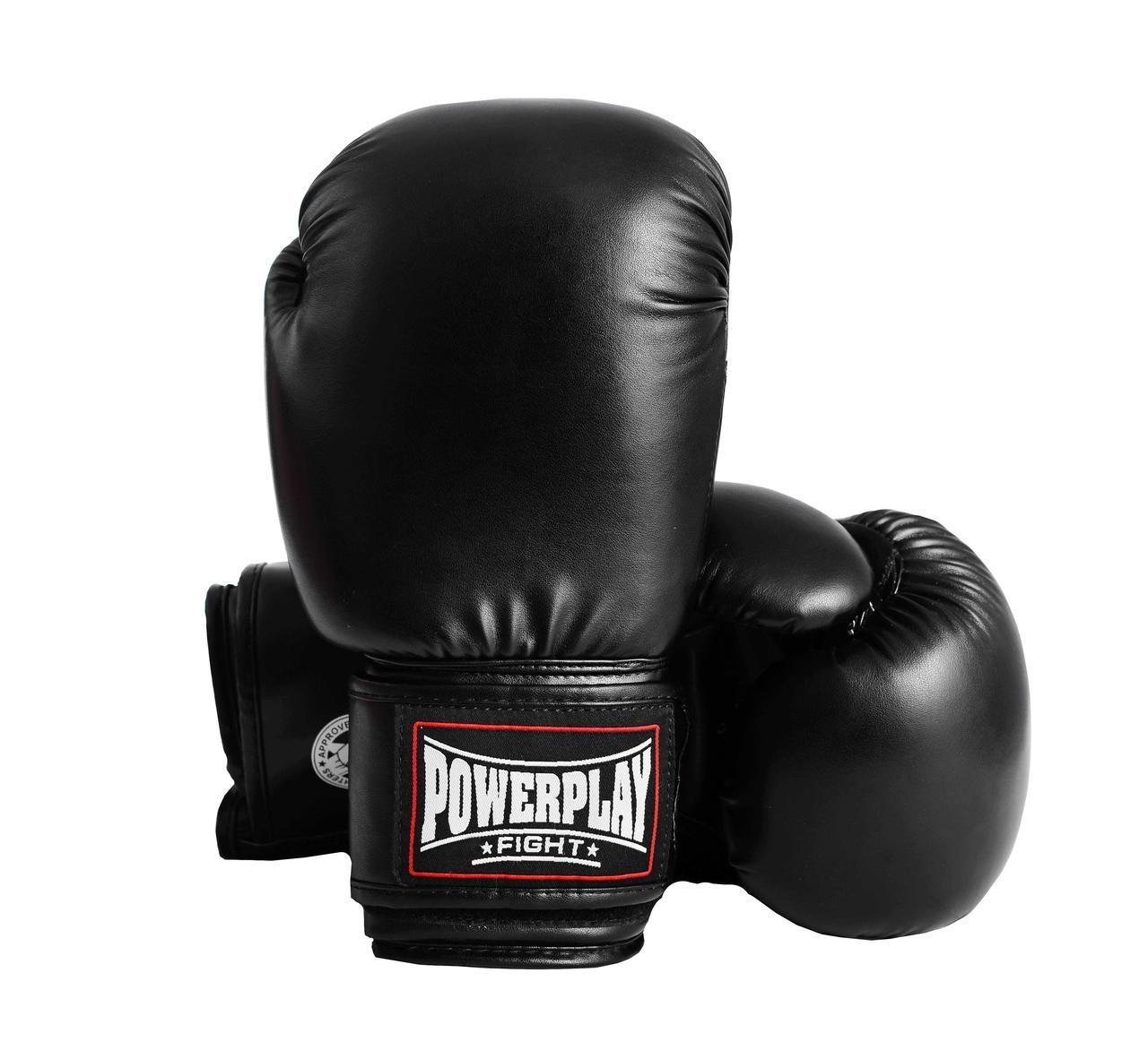 Боксерские перчатки PowerPlay 3004 Черные 10 oz 12 oz 14 oz 16 oz