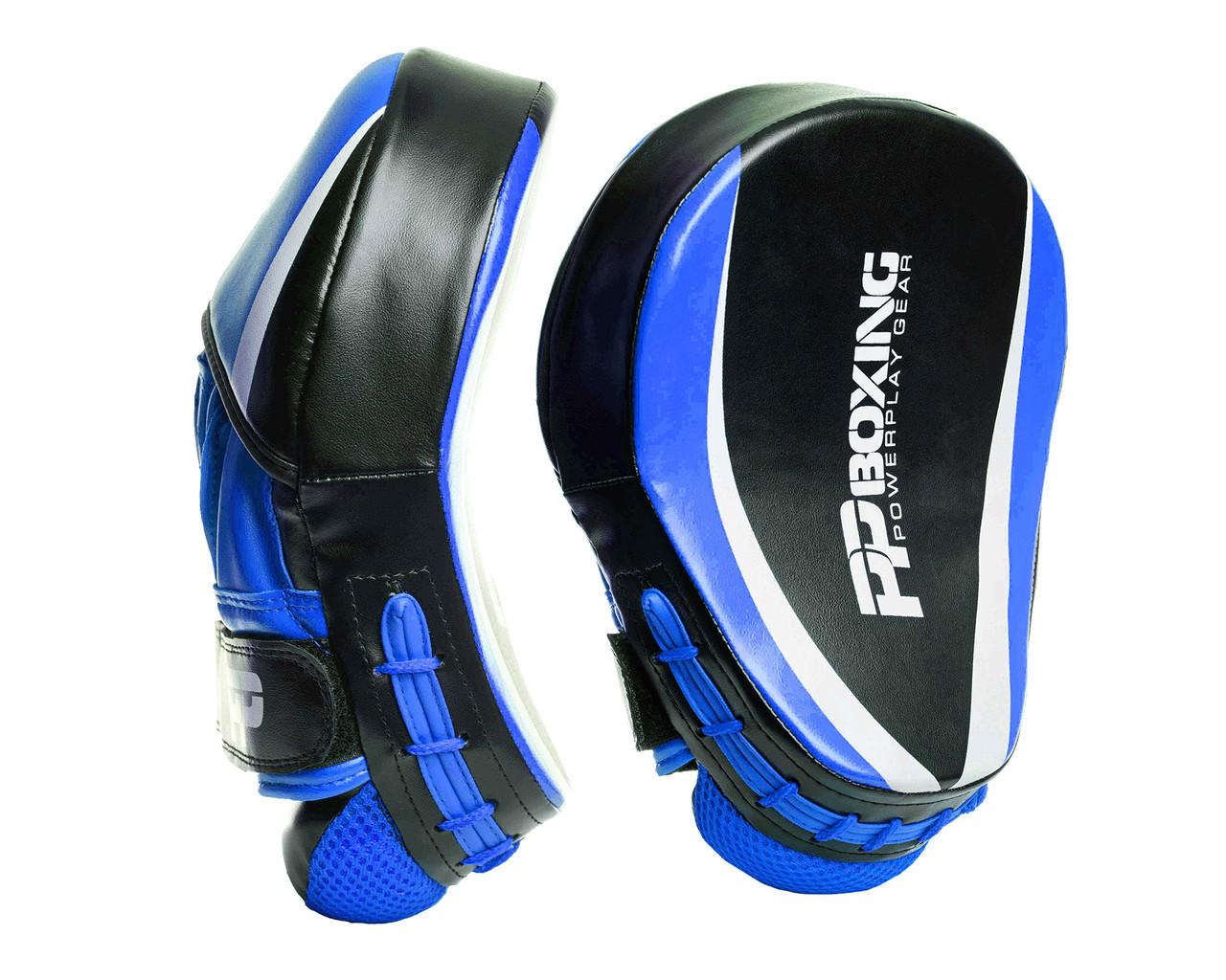 Лапы боксерские PowerPlay 3050 Черно-Синие PU [пара]