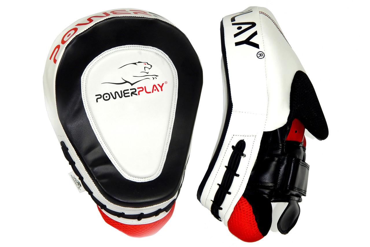 Лапы боксерские PowerPlay 3042 Черно-Белые PU [пара]