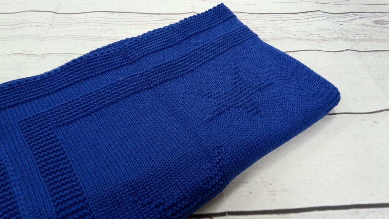 Плед вязанный (90% хлопок, 10% акрил) звезда синие 95*75 см