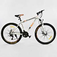 """Велосипед Спортивный CORSO K-Rally 26""""дюймов 0010 - 728 WHITE-ORANGE (1) рама металлическая 17``, 21 скорость, собран на 75%"""