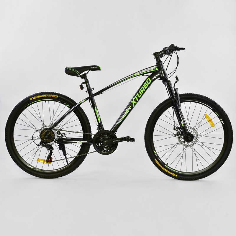 """Велосипед Спортивный CORSO X-Turbo 26""""дюймов 0015 - 8099 BLACK-GREEN (1) рама металлическая 17``, 21 скорость, собран на 75%"""