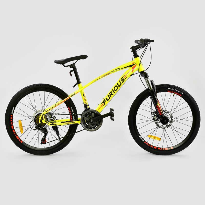 Велосипед Спортивный CORSO FURIOUS 24 дюйма, JYT 009 - 5567 YELLOW (1) металлическая рама 13``, 21 скорость, собран на 75%