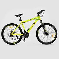 """Велосипед Спортивный CORSO SPIRIT 26""""дюймов JYT 001 - 719 YELLOW (1) рама металлическая 17``, 21 скорость, собран на 75%"""
