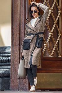 Женское вязаное пальто с притном елочка