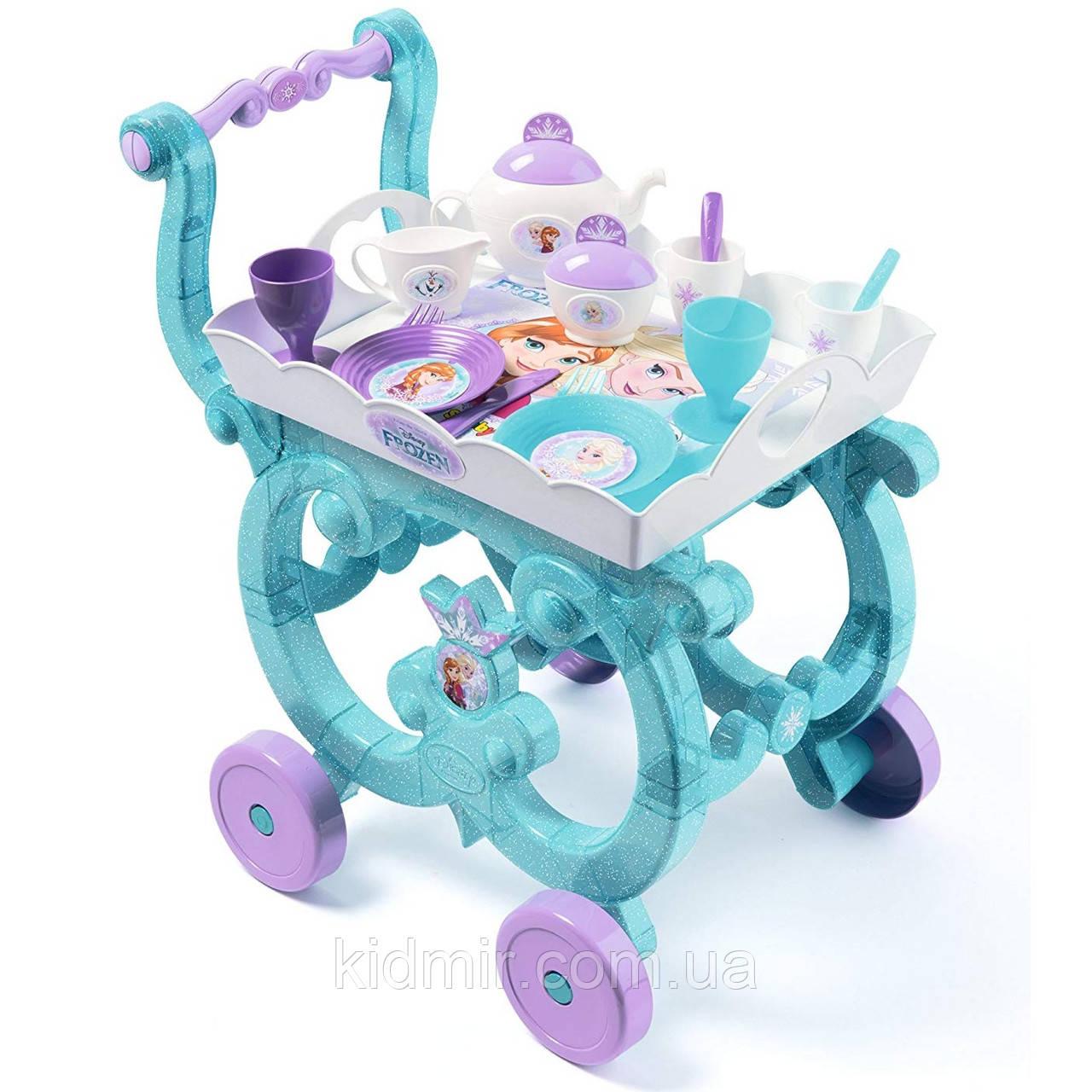 Сервірувальний Столик на коліщатках з чайним сервізом Фроузен Frozen Smoby 310577