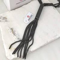 Колье из черных металлических шнуров женское 50 см 163393