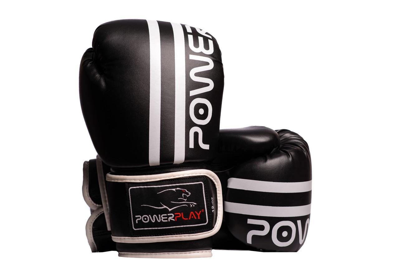 Боксерские перчатки PowerPlay 3010 Черно-белые 10 унций