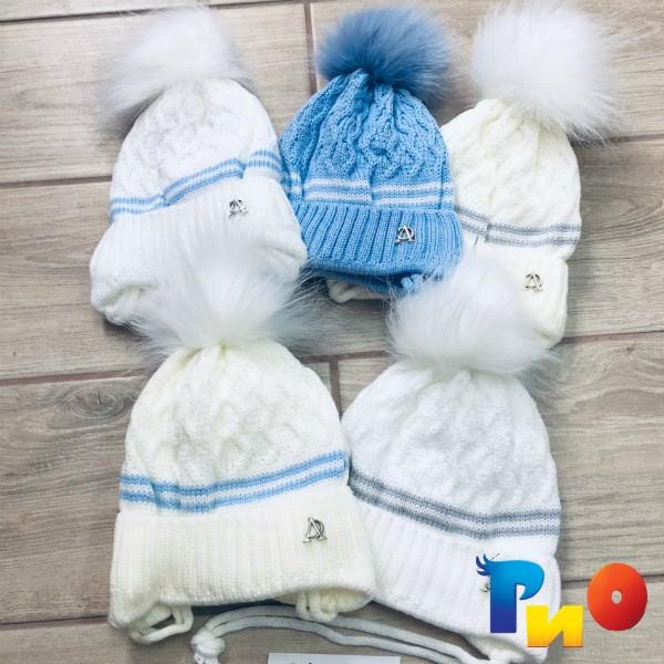 Детская вязанная шапочка на флисе, для мальчиков р-р 38-40 (5 ед в уп) NA_714090
