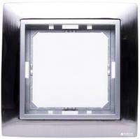 Рамка 1 место матовая сталь/серебряный металлик (материал металл) TESLA