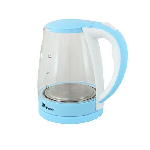 Стеклянный электрический чайник Domotec MS-8214 голубой качественный