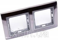 Рамка 2 места матовая сталь/серебряный металик TESLA (матеріал метал)