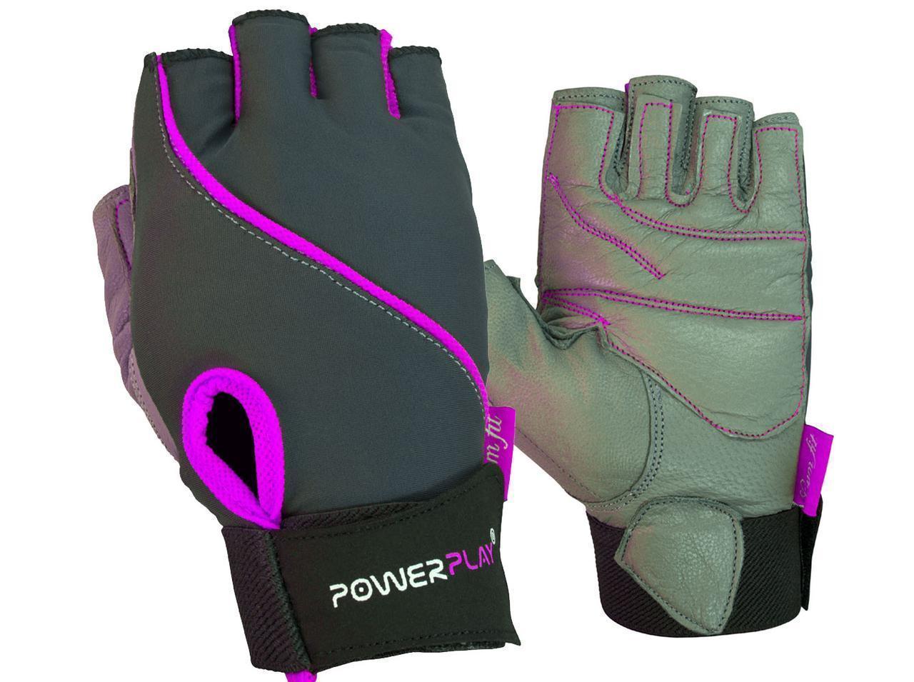 Перчатки для фитнеса PowerPlay 1725 A женские Серо-Фиолетовые S