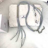 Колье из серебристых металлических шнуров женское 50 см 163396