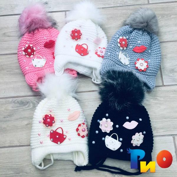 Детская вязанная шапочка на флисе, для девочек р-р 50 (5 ед в уп) NA_3043145