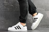 Кроссовки Adidas Superstar мужские, белые с черным, в стиле Адидас Суперстар, натуральная кожа, код SD-8135