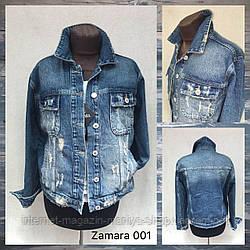 Куртка женская джинсовая 001 потертости на пуговицах S-XL (деми)