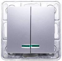 Выключатель двойной с подсветкой серебряный металлик TESLA