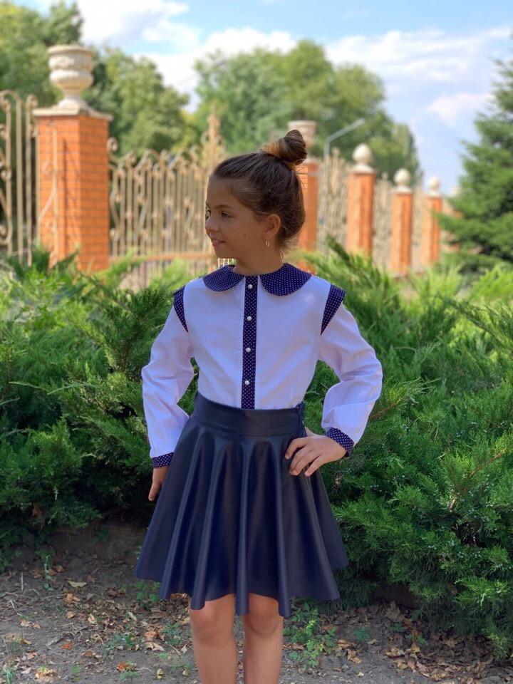 Детская белая хб  блузка с рукавом. Р-ры122-146