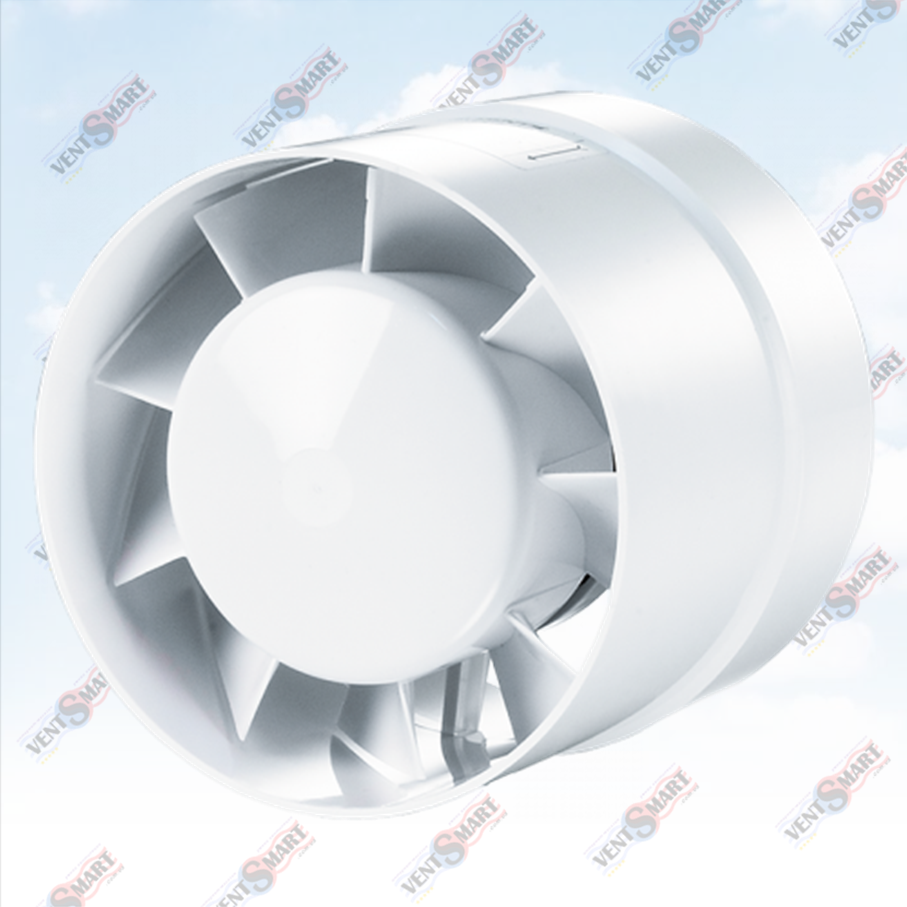 Изображение (фото) осевого канального вентилятора для вытяжной и приточной вентиляции (в ванной комнате, санузле, на кухне) Домовент 125 ВКО
