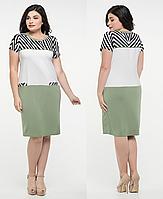 Платье больших размеров легкое женское батальное летнее трикотаж масло, зеленое
