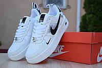 Женские кеды Nike Air Force из пресс кожи низкие прошиты яркие найки на шнуровке (белые), ТОП-реплика