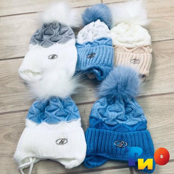 Детская вязанная шапочка на флисе, для мальчиков р-р 38-40 (5 ед в уп) NA_617090