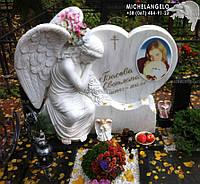 Памятник детский из мрамора в виде сердца