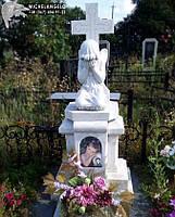 Памятник детский с крестом и ангелом из мрамора