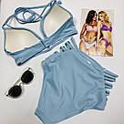 Victoria's Secret Купальник с Высокими Плавками PINK Plunge Halter Top &High Waist Bikini Bottom XS, Голубой, фото 2