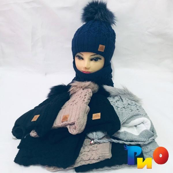 Детская вязаная шапочка с хомутом, на флисе, для девочек р-р 48-50 (5 ед в уп) NA_А2110