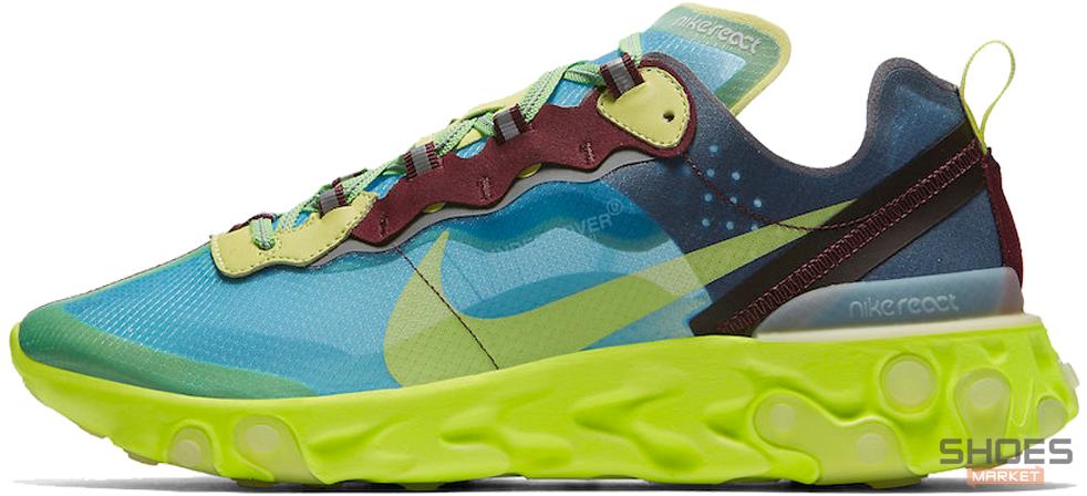 Мужские кроссовки Nike React Element 87 x Undercover Lakeside Electric Yellow BQ2718-400