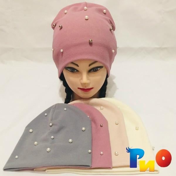 Детская шапочка из двойного трикотажа, для девочек р-р 46, 48, 50, 52 (5 ед в уп) NA_6475
