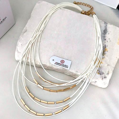 Колье из текстильных шнуров белое женское 70 см 163414