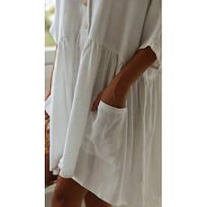 Пляжное короткое платье белое versize- 146-68-1, фото 3