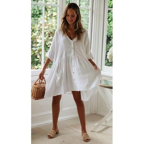 Пляжное короткое платье белое versize- 146-68-1