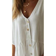 Пляжное короткое платье белое versize- 146-68-1, фото 2