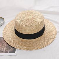 Соломенная шляпка канотье с черной лентой (поля 7 см), фото 1