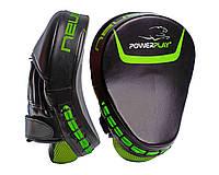 Лапы боксерские PowerPlay 3041 Черно-Зеленые PU [пара], фото 1