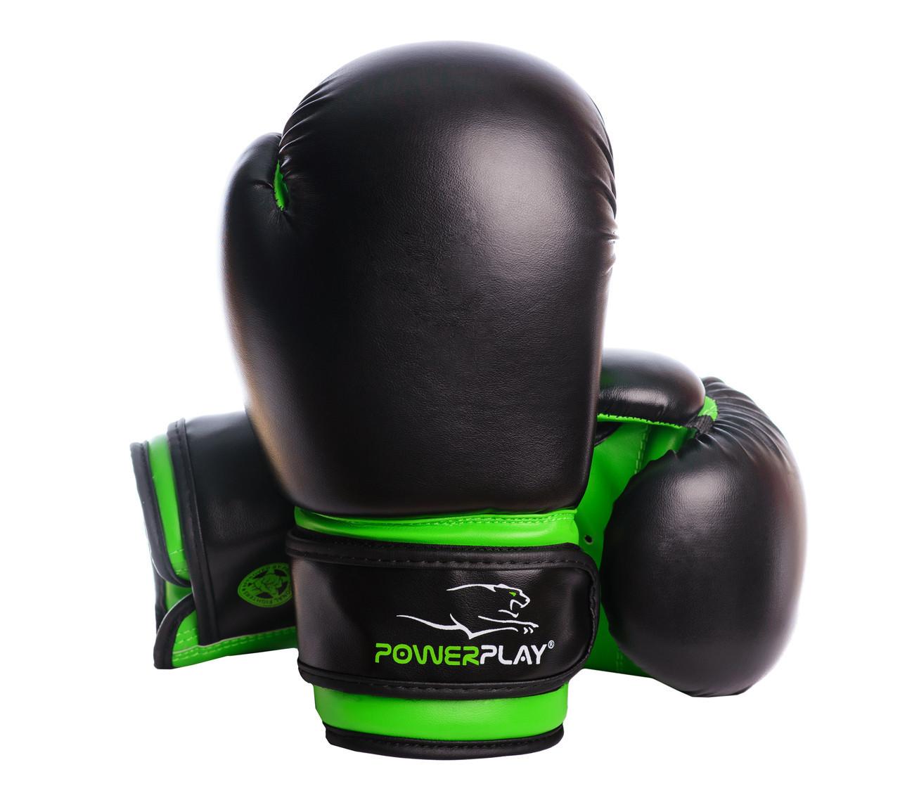 Боксерские перчатки PowerPlay 3004 JR Черно-Зеленые 8 унций