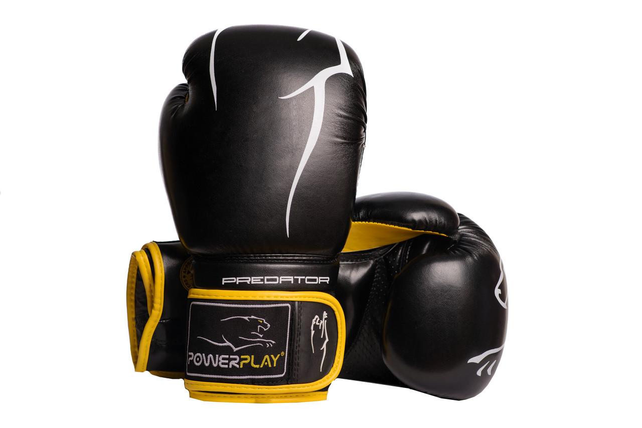 Боксерские перчатки PowerPlay 3018 Черно-Желтые 10 унций