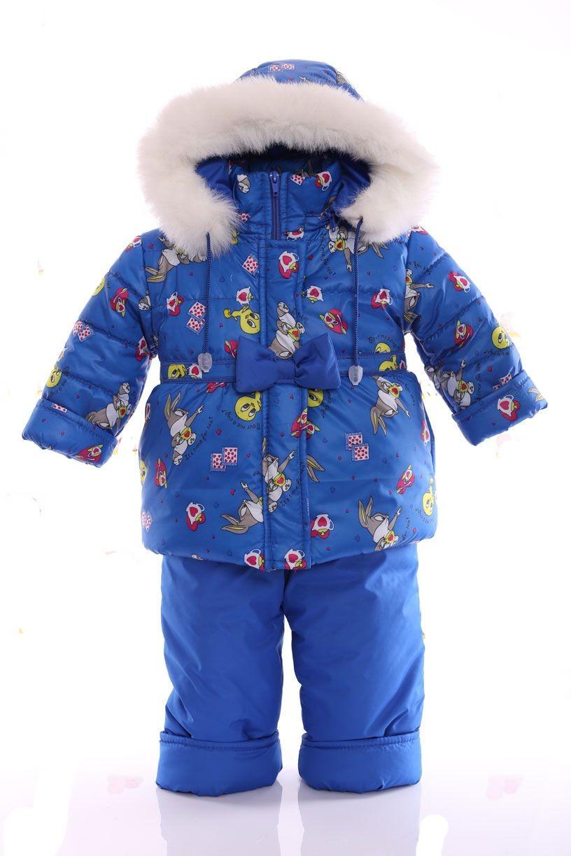 Зимний костюм Ноль Евро синий с зайчиком