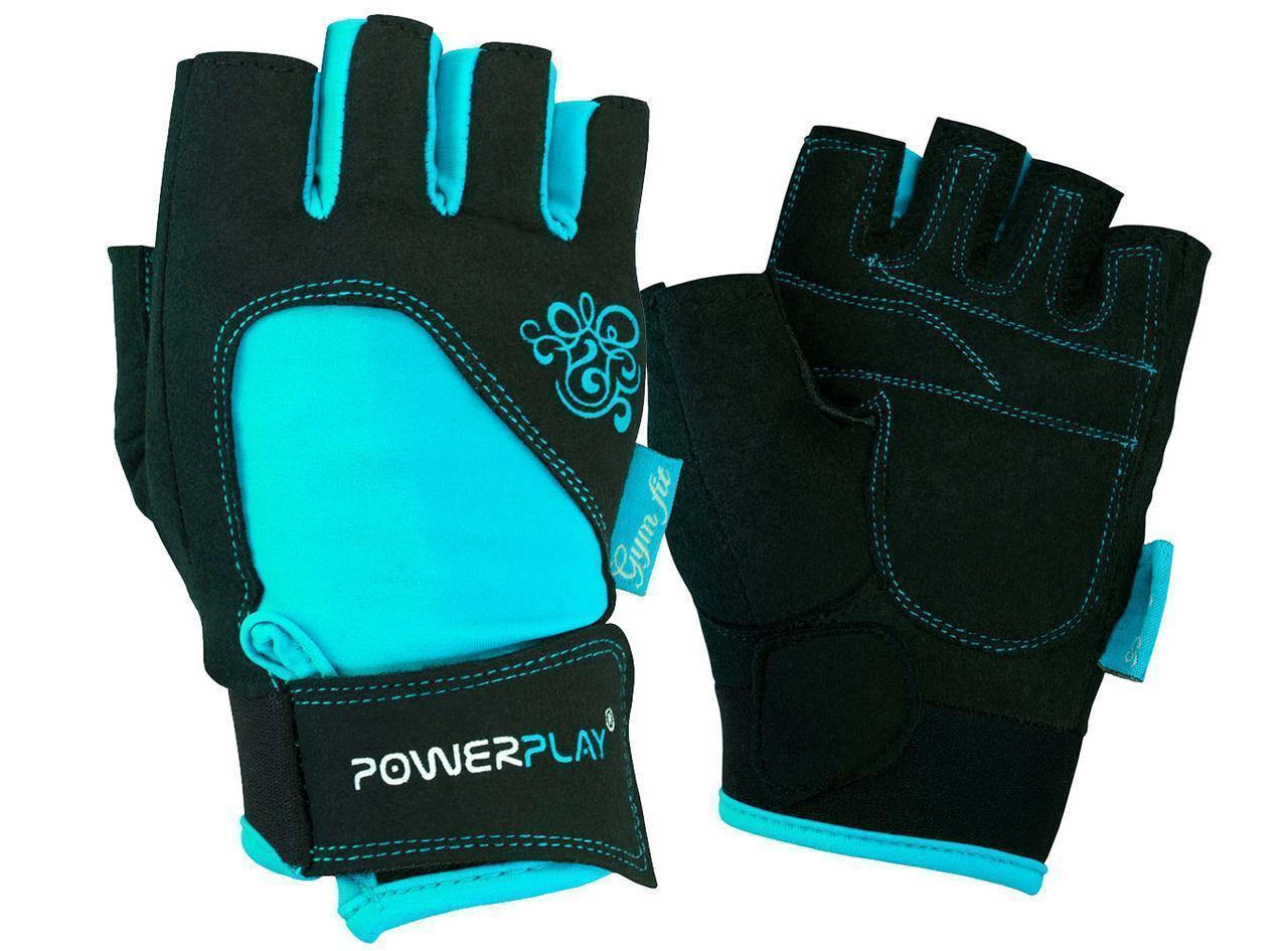 Перчатки для фитнеса PowerPlay 1728 A женские Черно-Голубые M