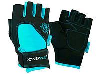 Перчатки для фитнеса PowerPlay 1728 A женские Черно-Голубые M, фото 1