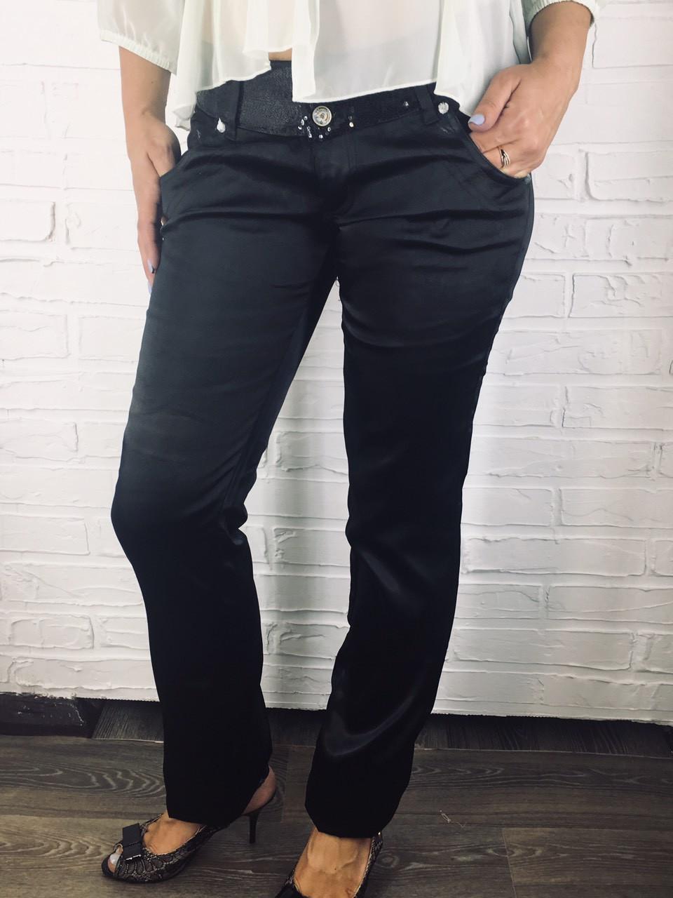 Штаны женские атласные C 075 черные 25-30