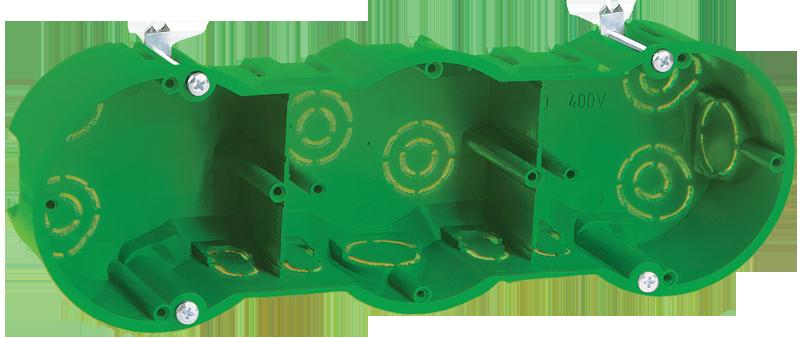 Коробка КМ40024 установочная 3 места d212х70x45 для полых стен (с саморезами и мет. лапками)