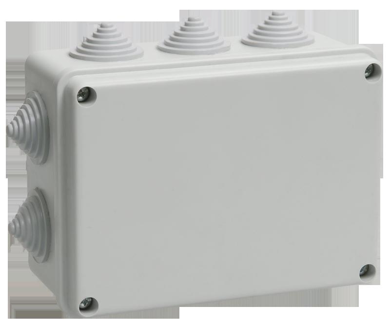 Коробка КМ41242 распаячная для о/п 150х110х70 мм IP55 (RAL7035, 10 гермовводов)
